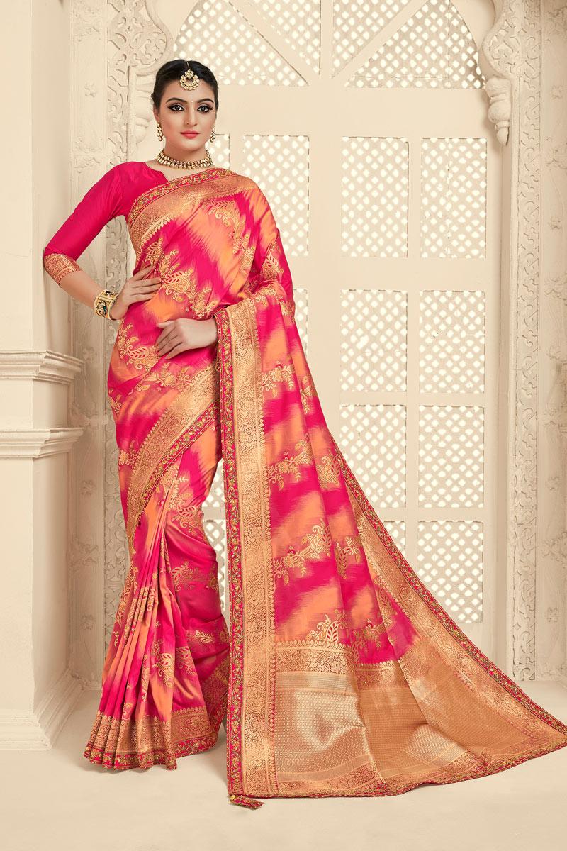 Banarasi Silk Fabric Designer Jacquard Work Saree In Pink Color