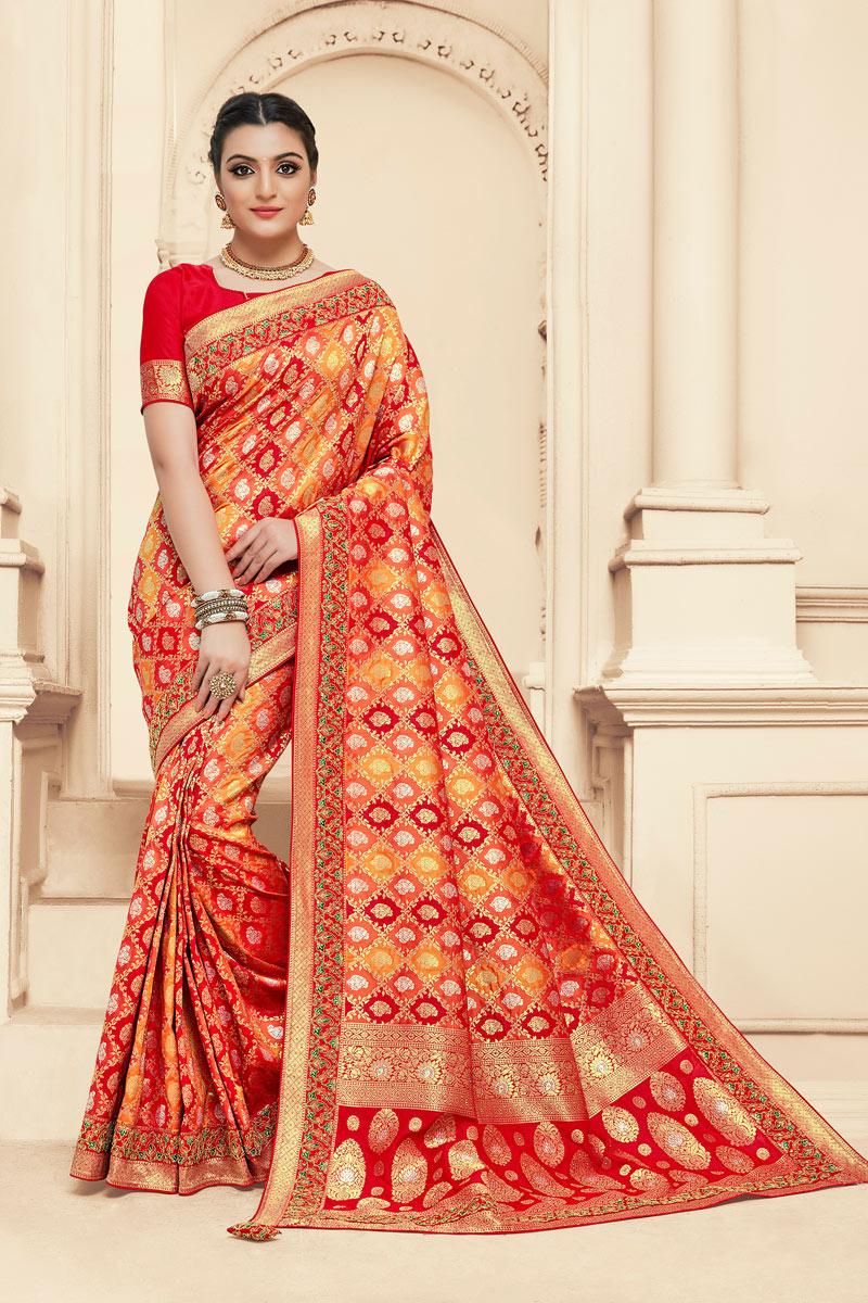 Jacquard Work Banarasi Silk Fabric Red Color Function Wear Saree