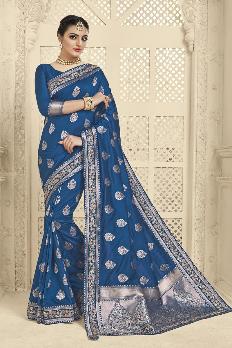 Banarasi Silk Fabric Navy Blue Color Festive Wear Saree With Jacquard Work