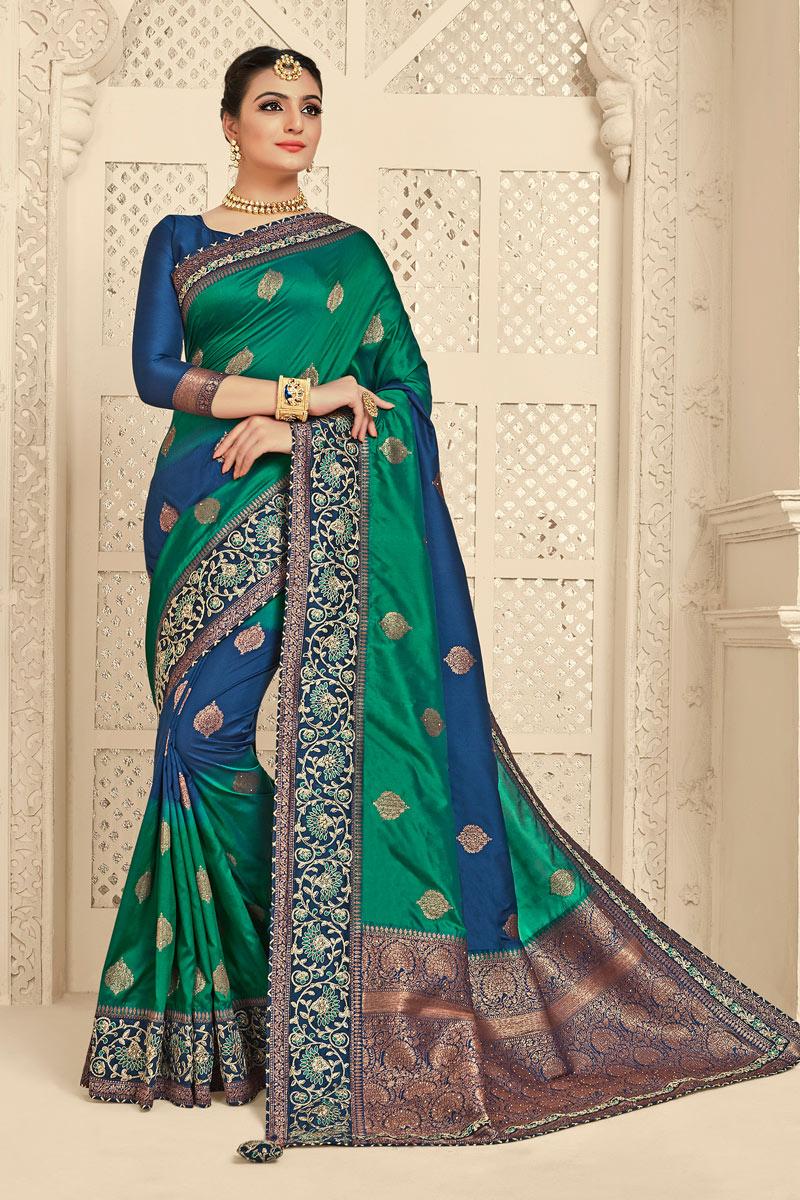 Banarasi Silk Fabric Teal Color Jacquard Work Designer Saree