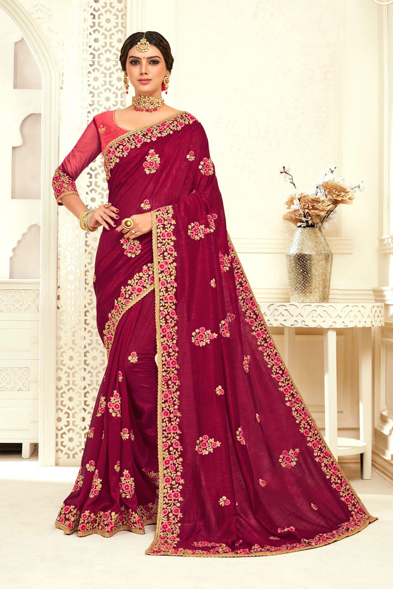 Embroidered Art Silk Burgundy Color Designer Saree With Mesmerizing Blouse
