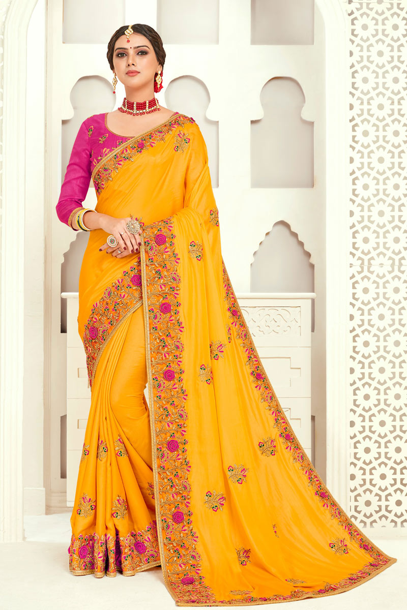 Eid Special Embroidery Work On Art Silk Yellow Color Party Wear Saree With Designer Blouse