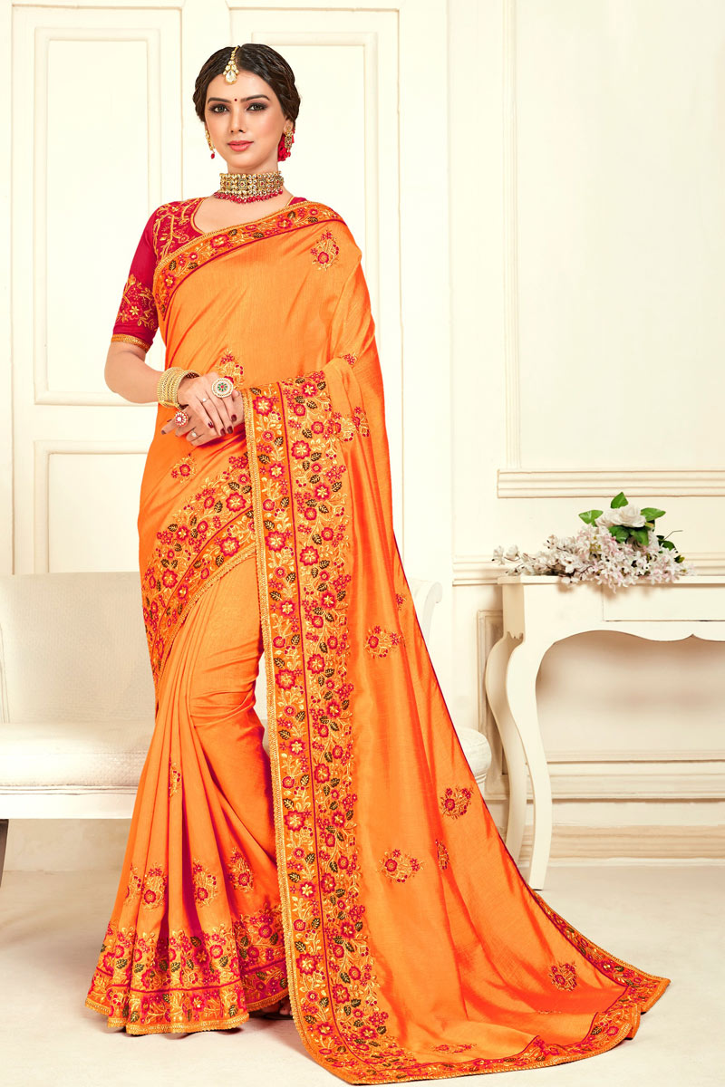 Embroidery Work On Art Silk Orange Color Function Wear Saree With Enigmatic Blouse