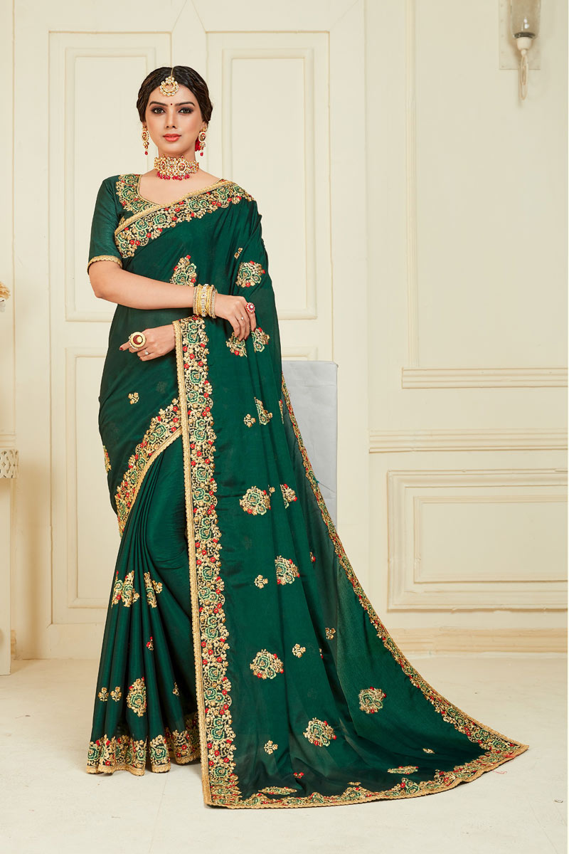 Eid Special Dark Green Color Art Silk Function Wear Saree With Embroidery Designs And Gorgeous Blouse