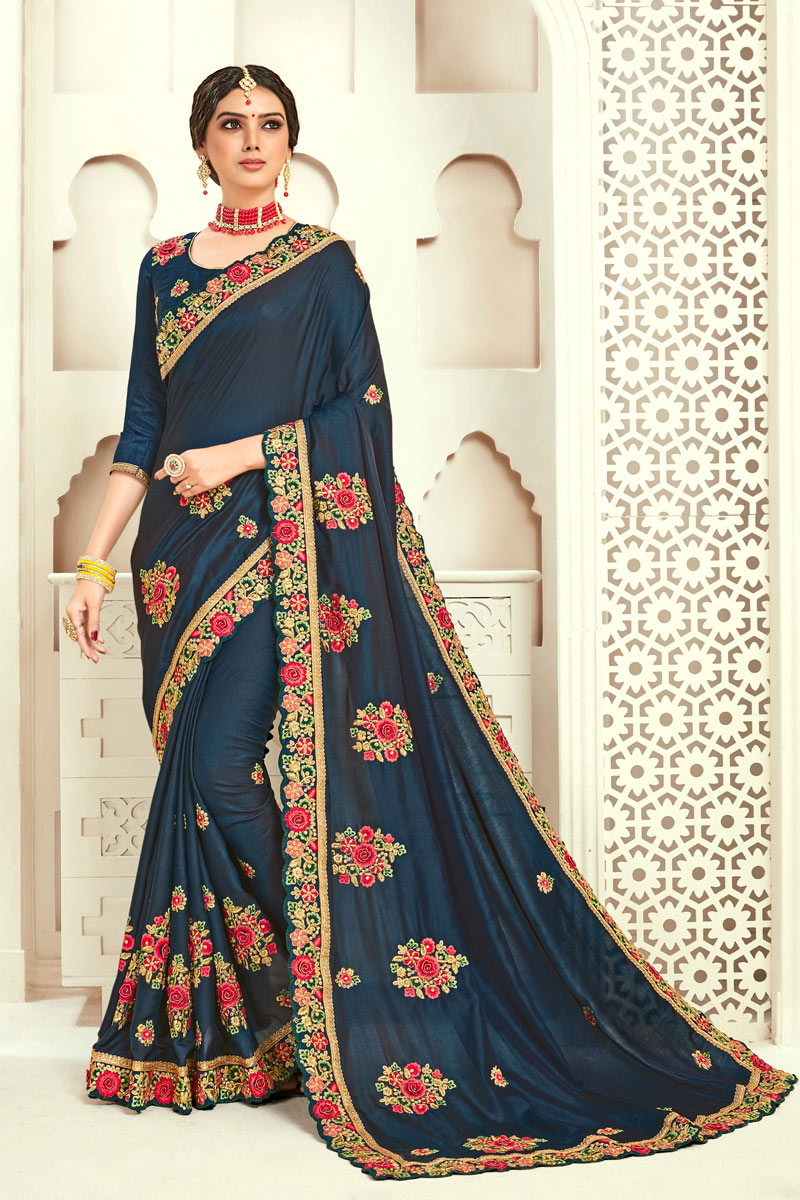 Eid Special Navy Blue Color Party Wear Saree In Art Silk With Embroidery Work And Designer Blouse