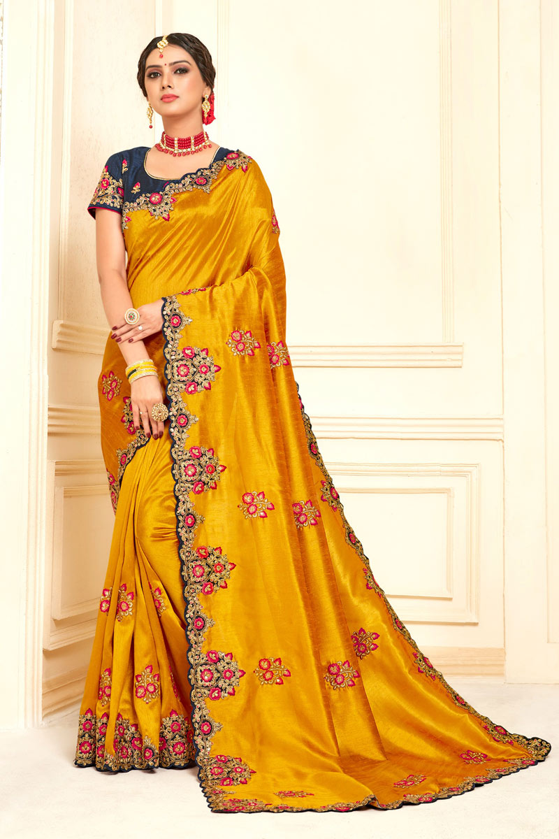 Eid Special Mustard Color Party Wear Embroidered Saree In Art Silk With Designer Blouse