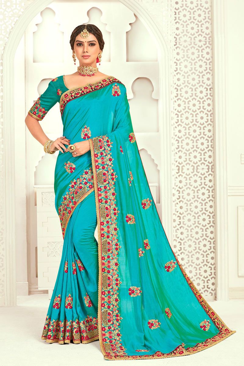 Embroidery Work On Art Silk Party Wear Saree In Turquoise Color With Ravishing Blouse