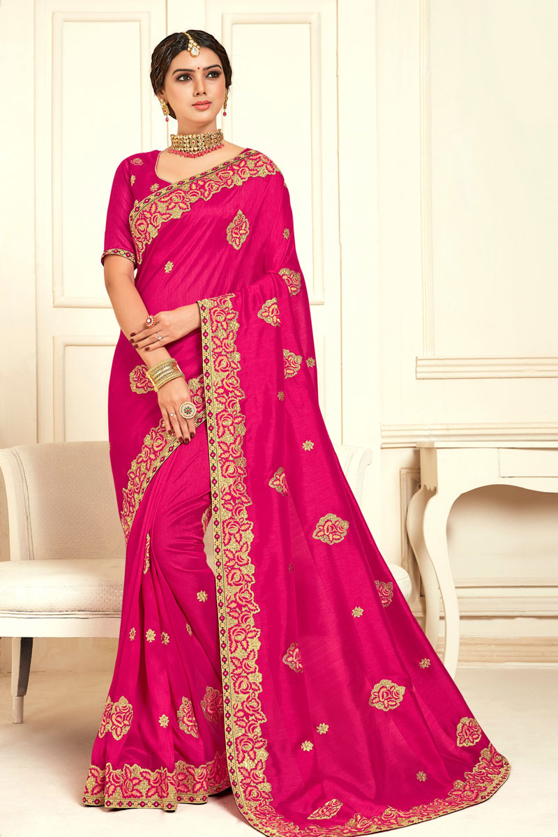 Rani Color Festive Wear Saree In Art Silk With Embroidery Work And Fantastic Blouse