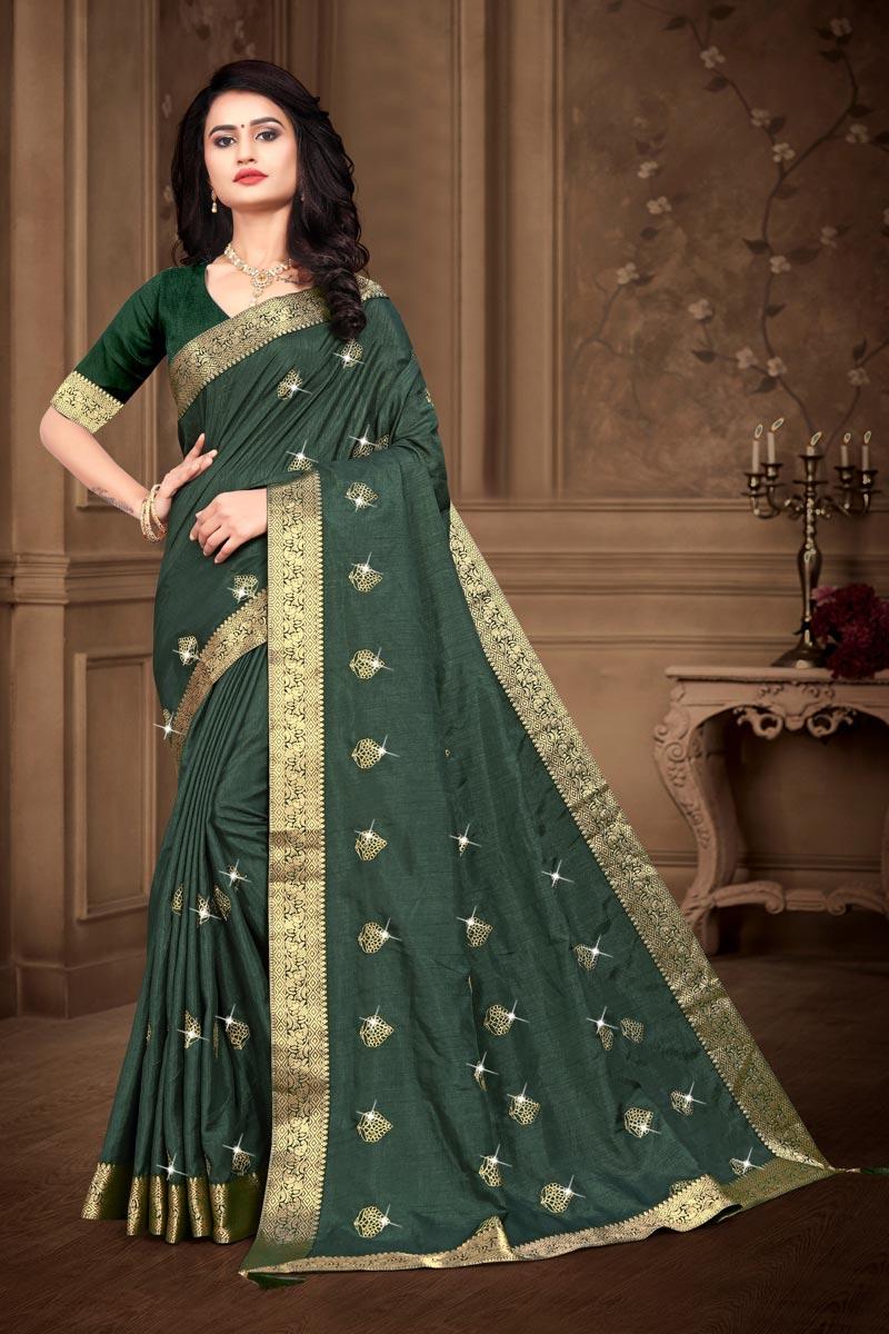 Fancy Mehendi Green Color Art Silk Fabric Sangeet Wear Saree