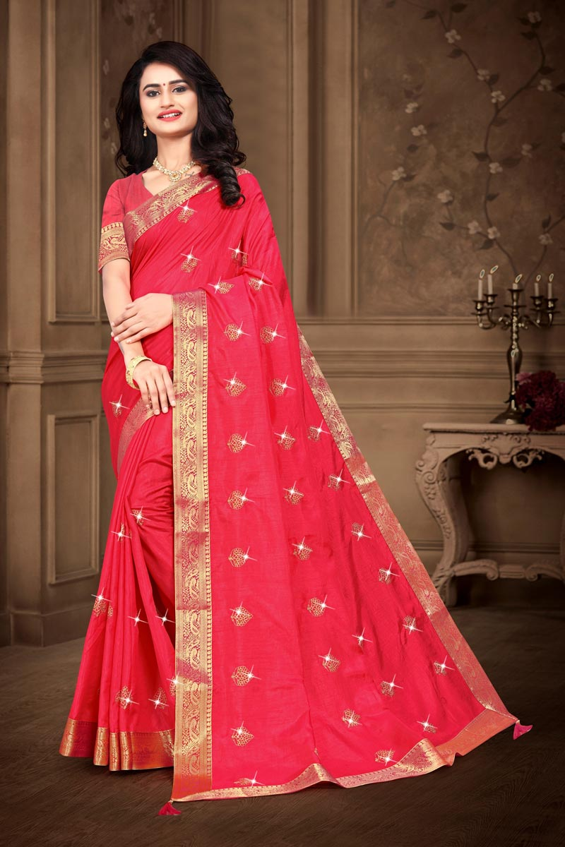 Fancy Embroidery Work Art Silk Fabric Pink Color Saree