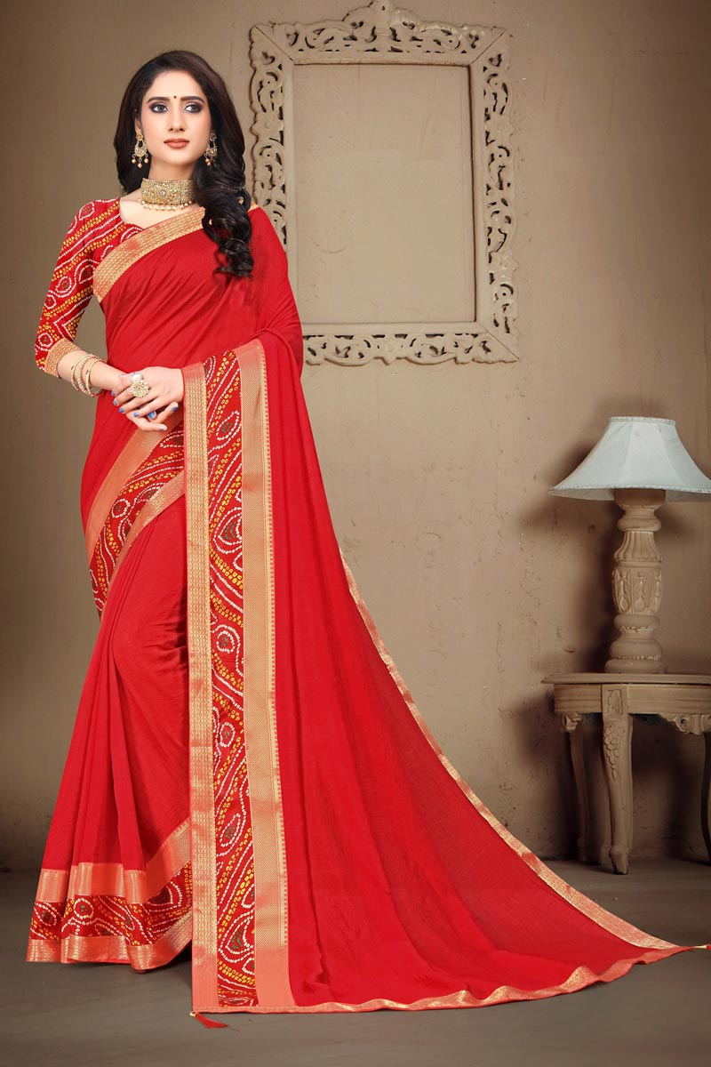 Art Silk Fabric Fancy Daily Wear Red Color Printed Lace Work Saree