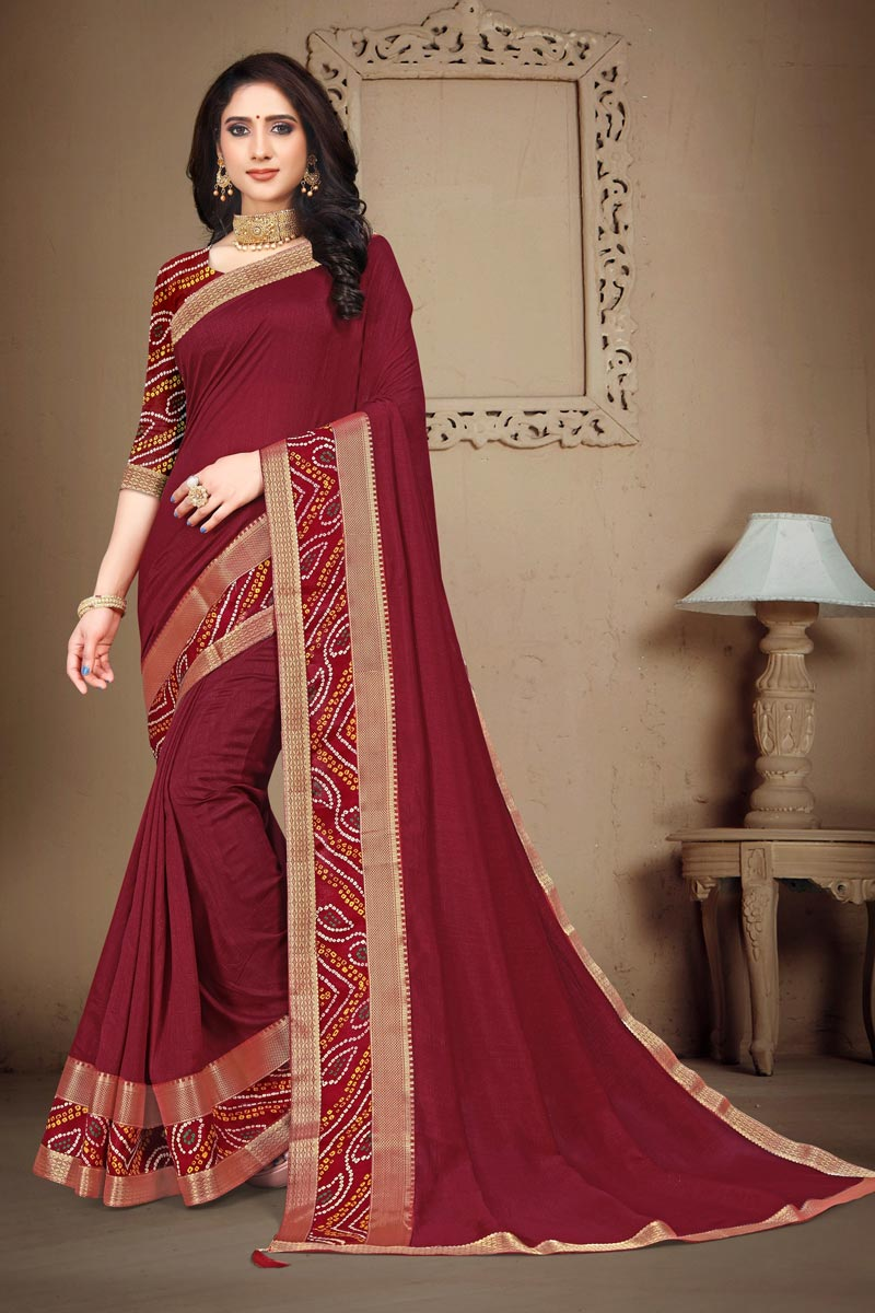 Maroon Color Daily Wear Fancy Art Silk Fabric Printed Lace Work Saree