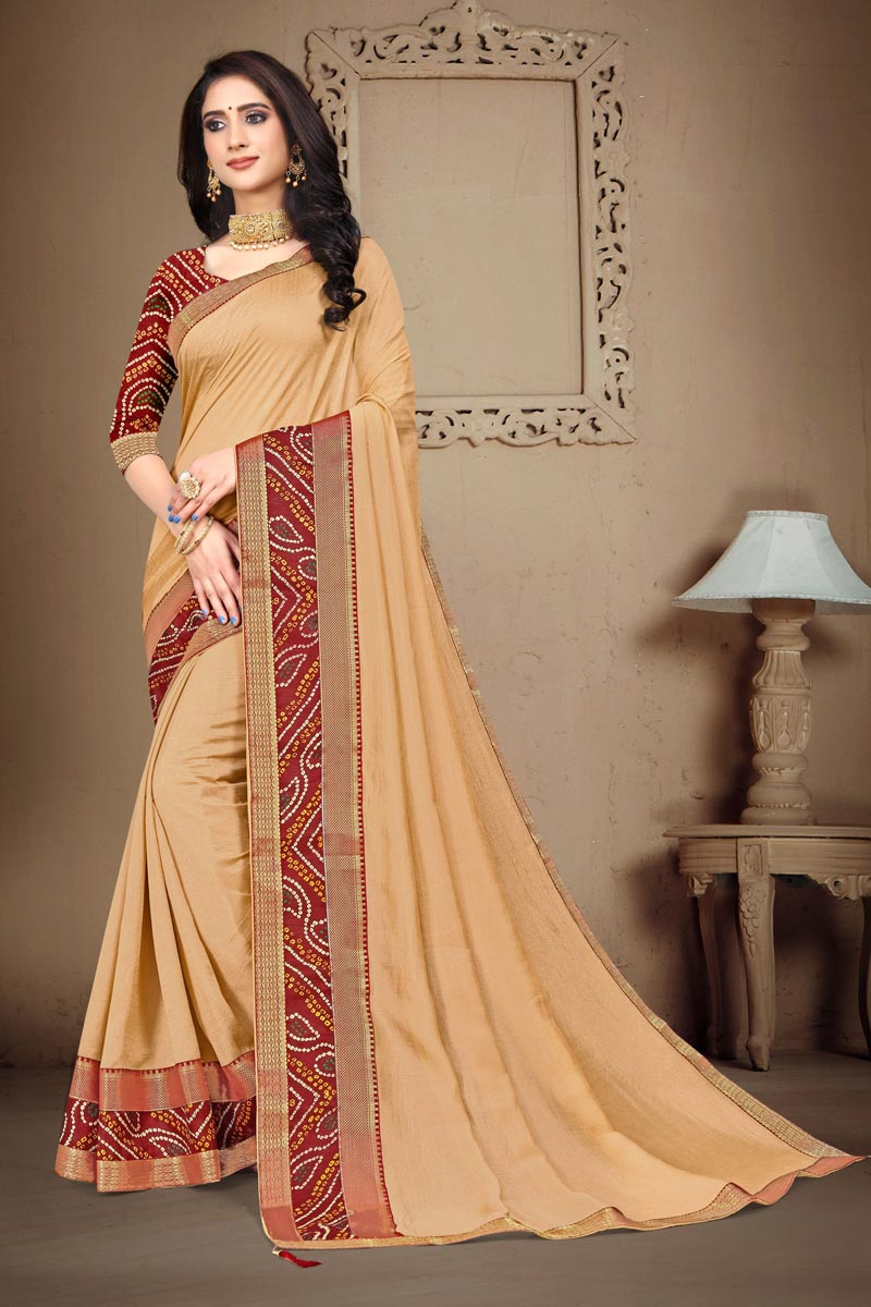 Daily Wear Art Silk Fabric Fancy Printed Lace Work Saree In Beige Color