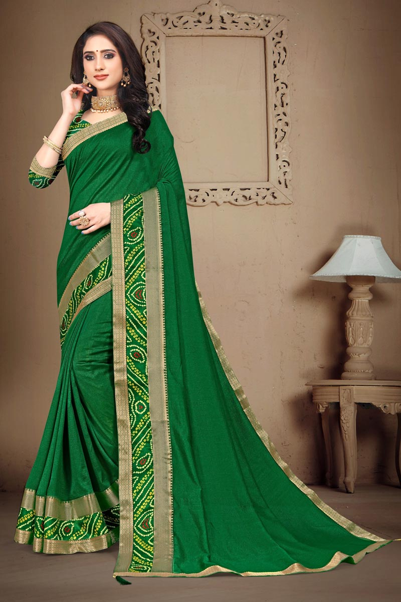 Art Silk Fabric Daily Wear Green Color Fancy Printed Lace Work Saree