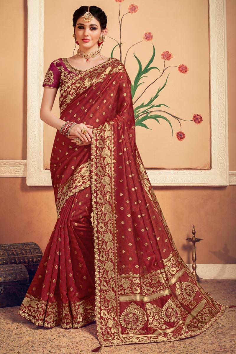 Art Silk Fabric Sangeet Wear Maroon Color Weaving Work Saree