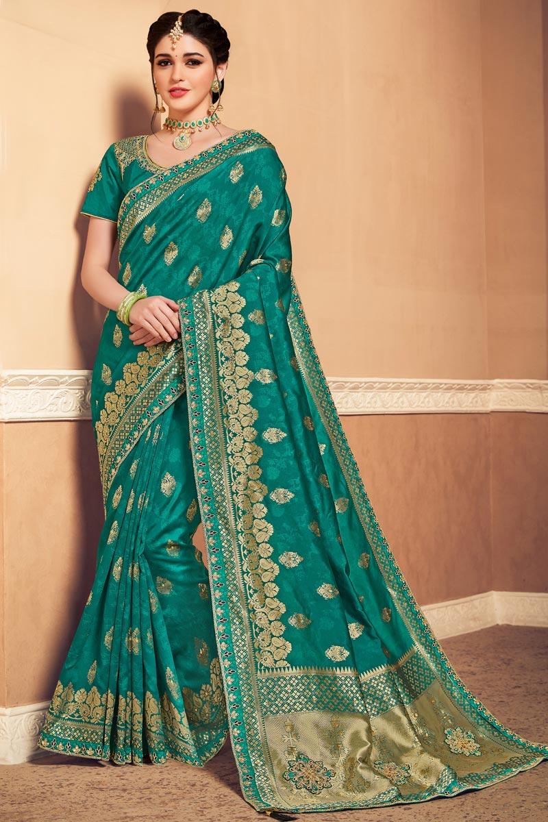 Cyan Color Sangeet Wear Art Silk Fabric Weaving Work Saree