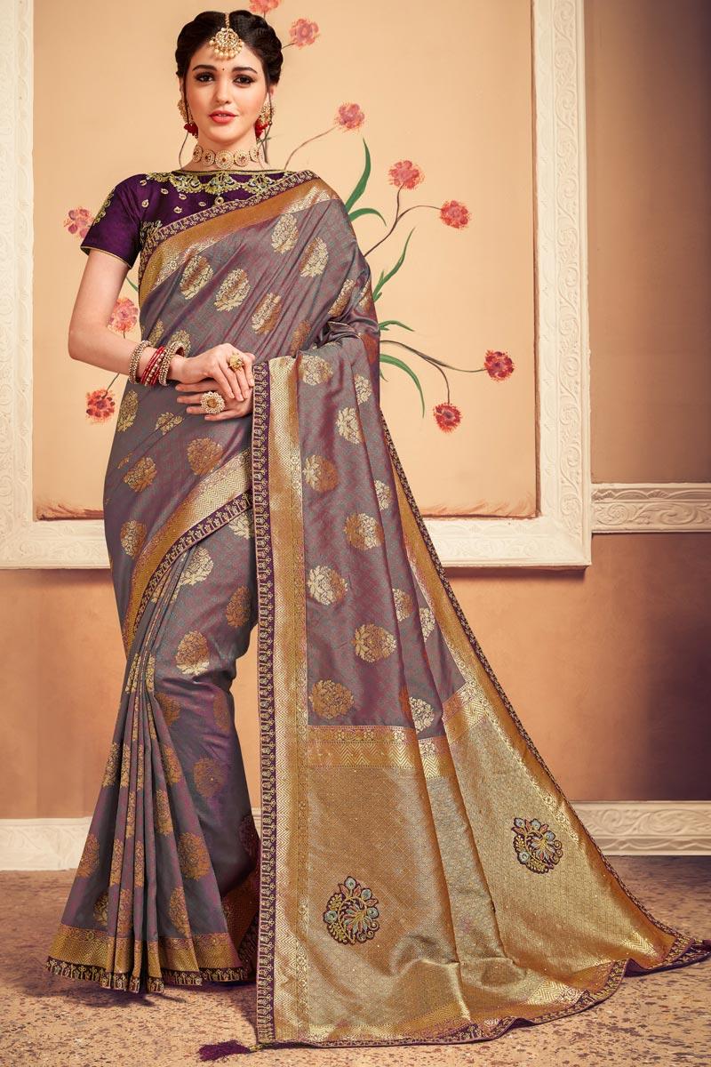 Sangeet Wear Lavender Color Weaving Work Saree
