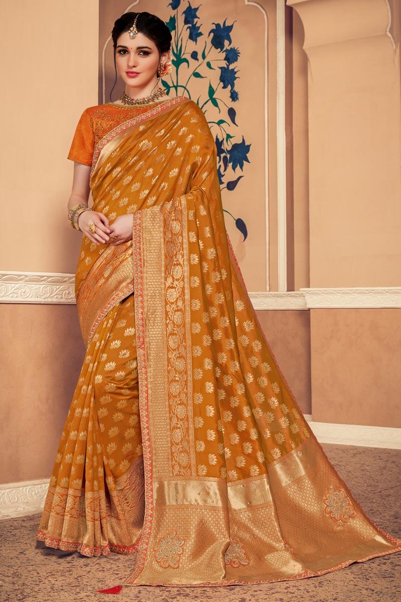 Sangeet Wear Mustard Color Art Silk Fabric Weaving Work Saree