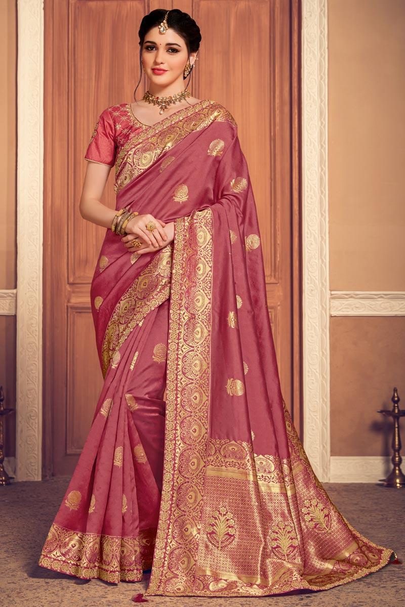 Sangeet Wear Art Silk Fabric Weaving Work Saree In Pink Color