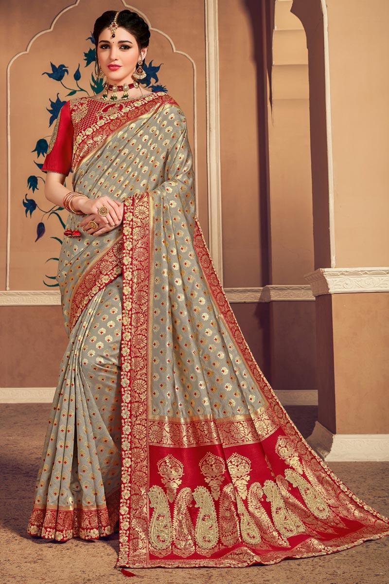 Cream Color Art Silk Fabric Weaving Work Saree