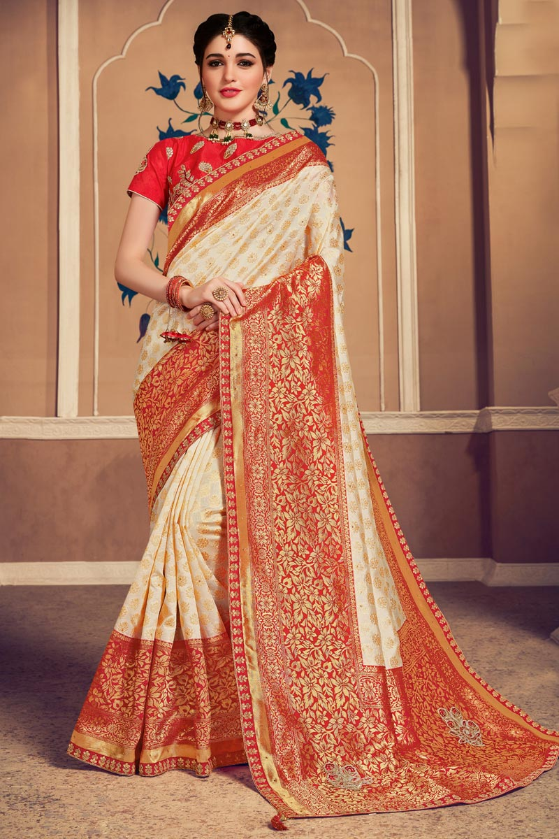 Beige Color Designer Saree In Art Silk Fabric