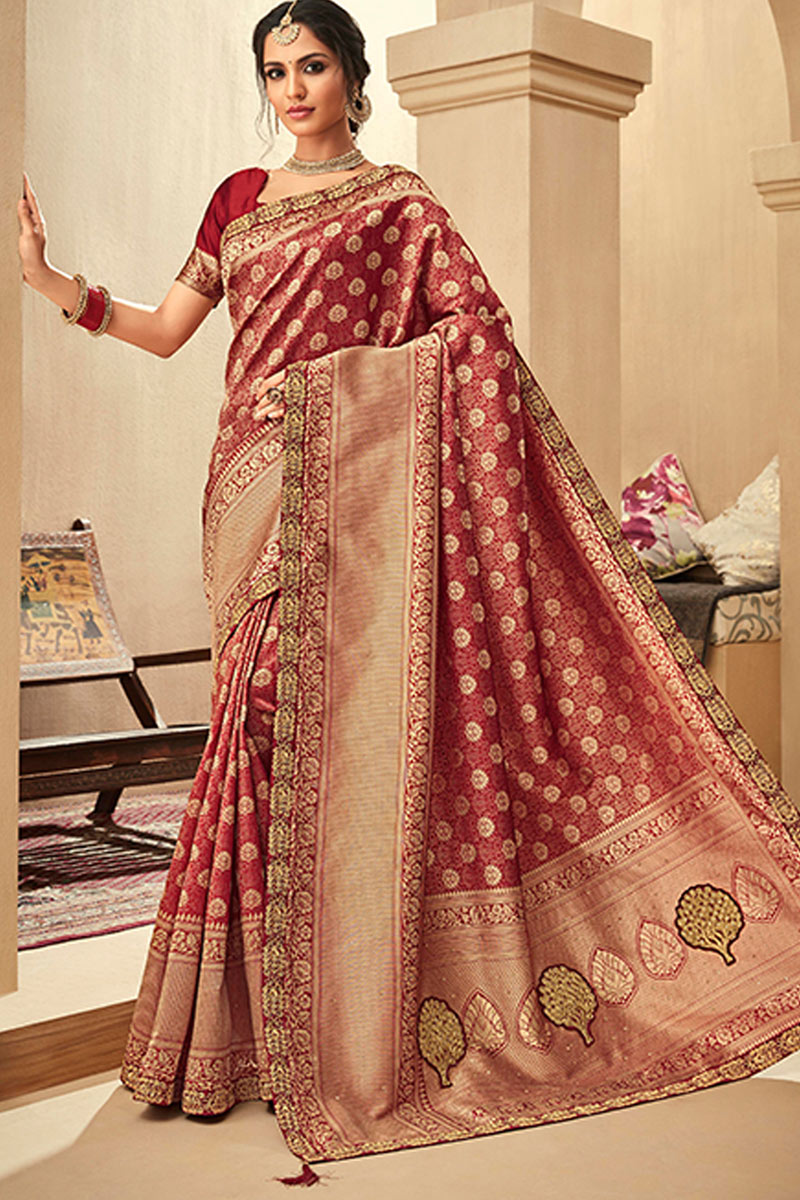 Embroidered Jacquard Silk Fabric Wedding Wear Saree In Maroon Color With Designer Blouse