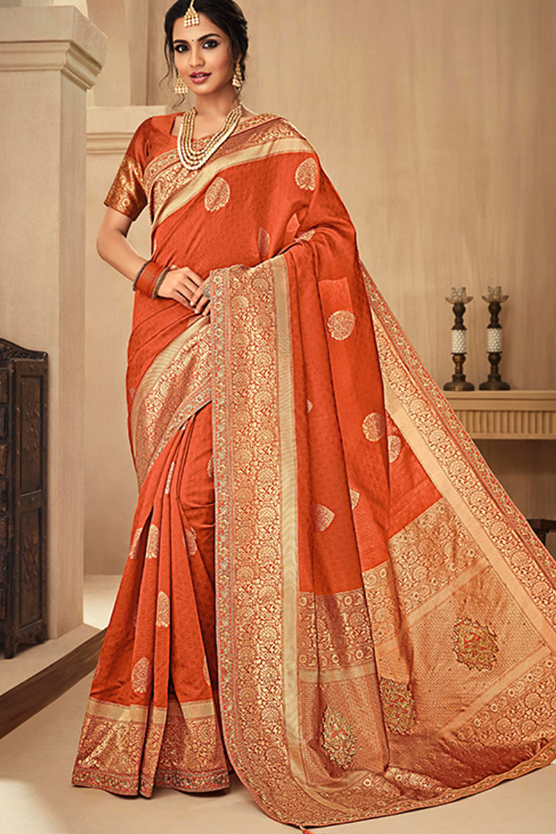 Jacquard Silk Fabric Orange Color Festive Wear Saree With Embroidery Work And Designer Blouse