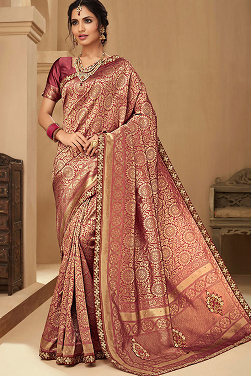 Embroidered Jacquard Silk Fabric Occasion Wear Wine Color Saree With Designer Blouse