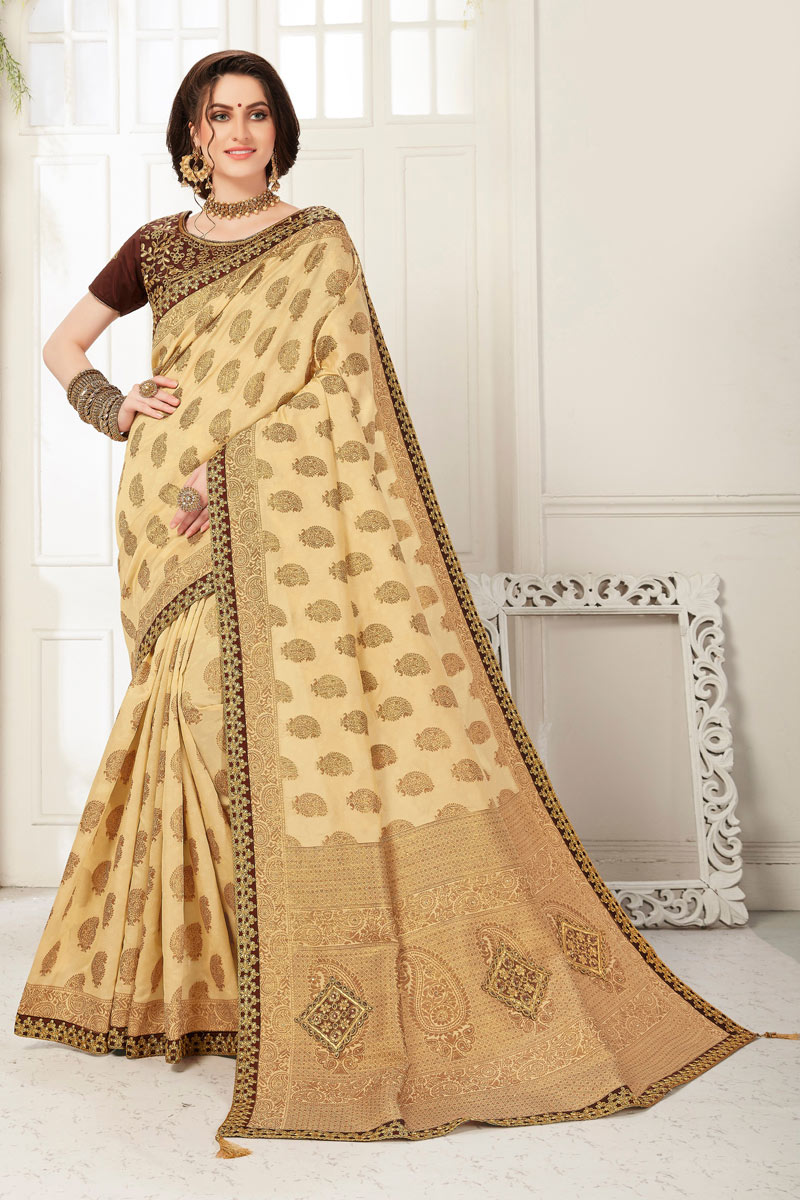 Jacquard Work Beige Color Party Wear Saree In Banarasi Silk Fabric