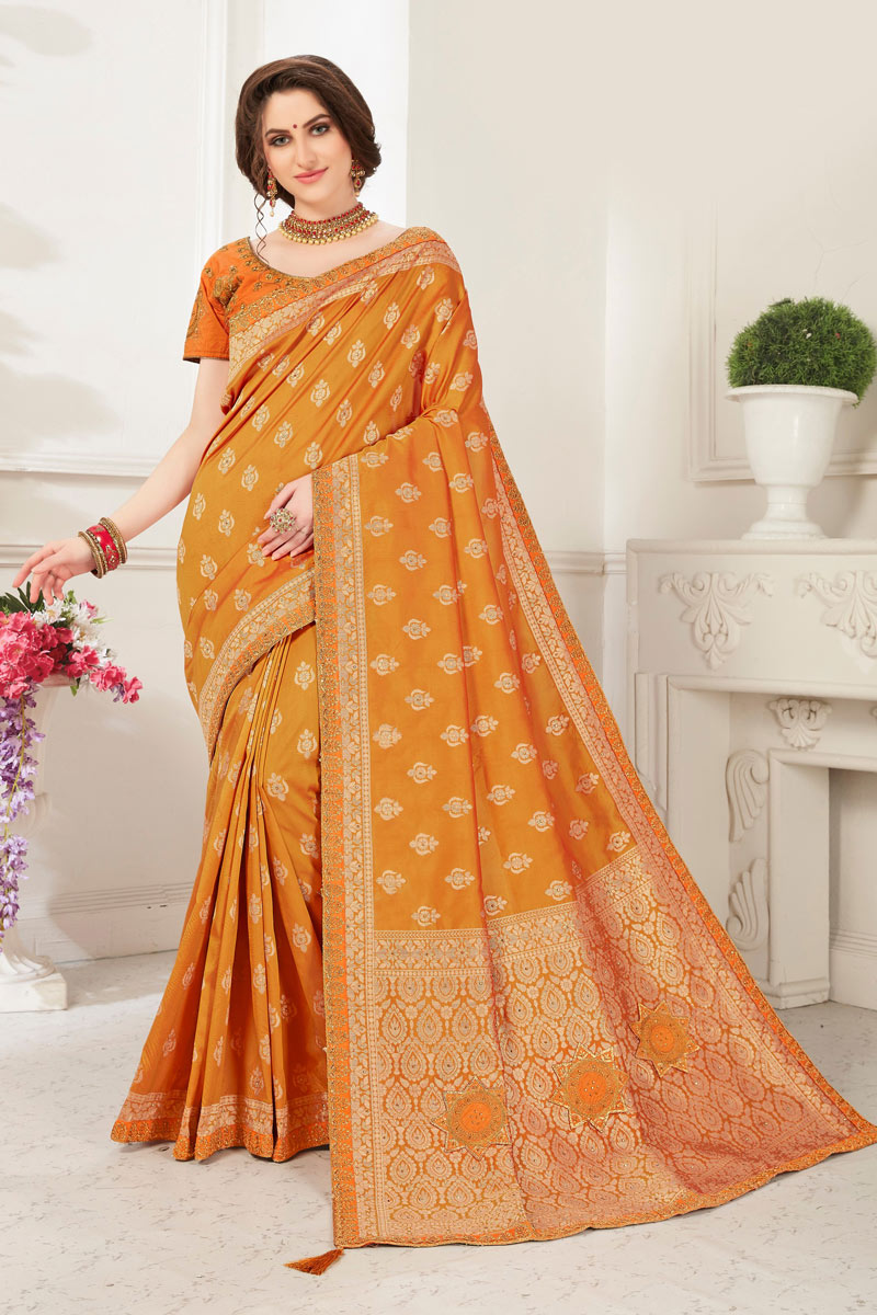 Jacquard Work Banarasi Silk Fabric Orange Color Function Wear Saree