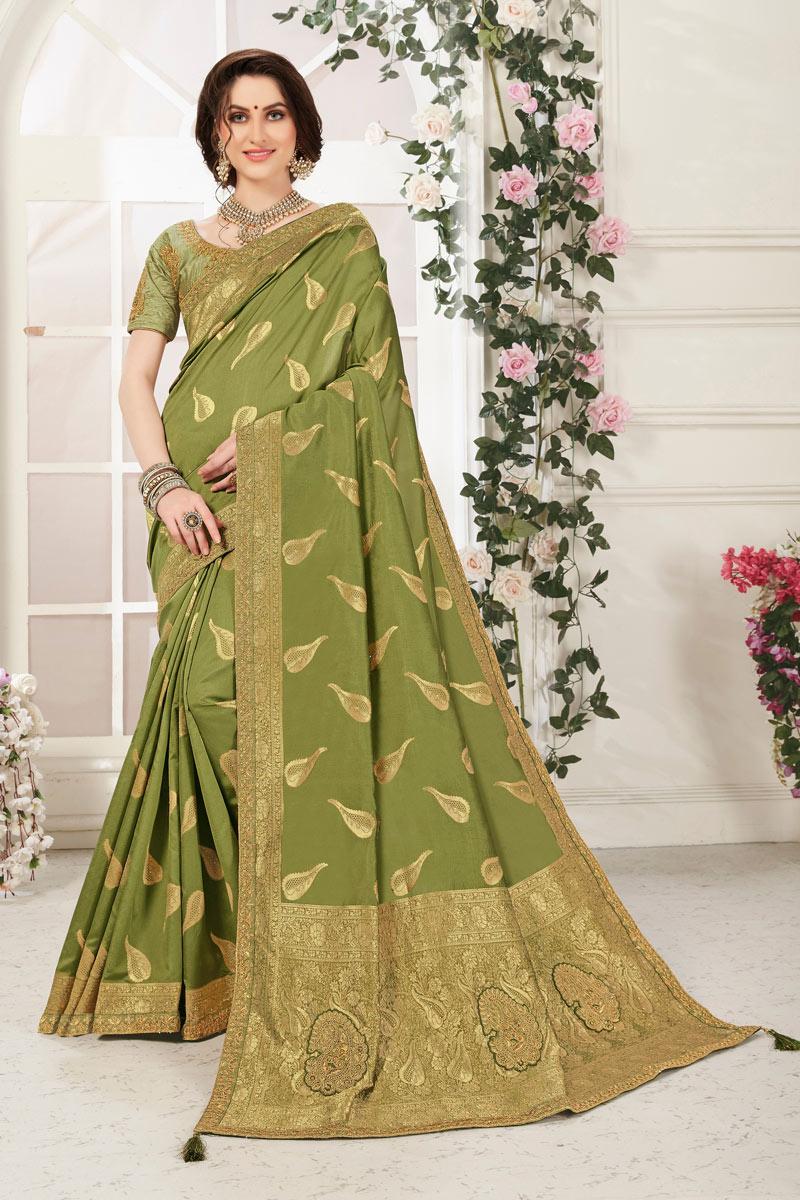 Occasion Wear Banarasi Silk Fabric Saree In Green Color With Jacquard Work