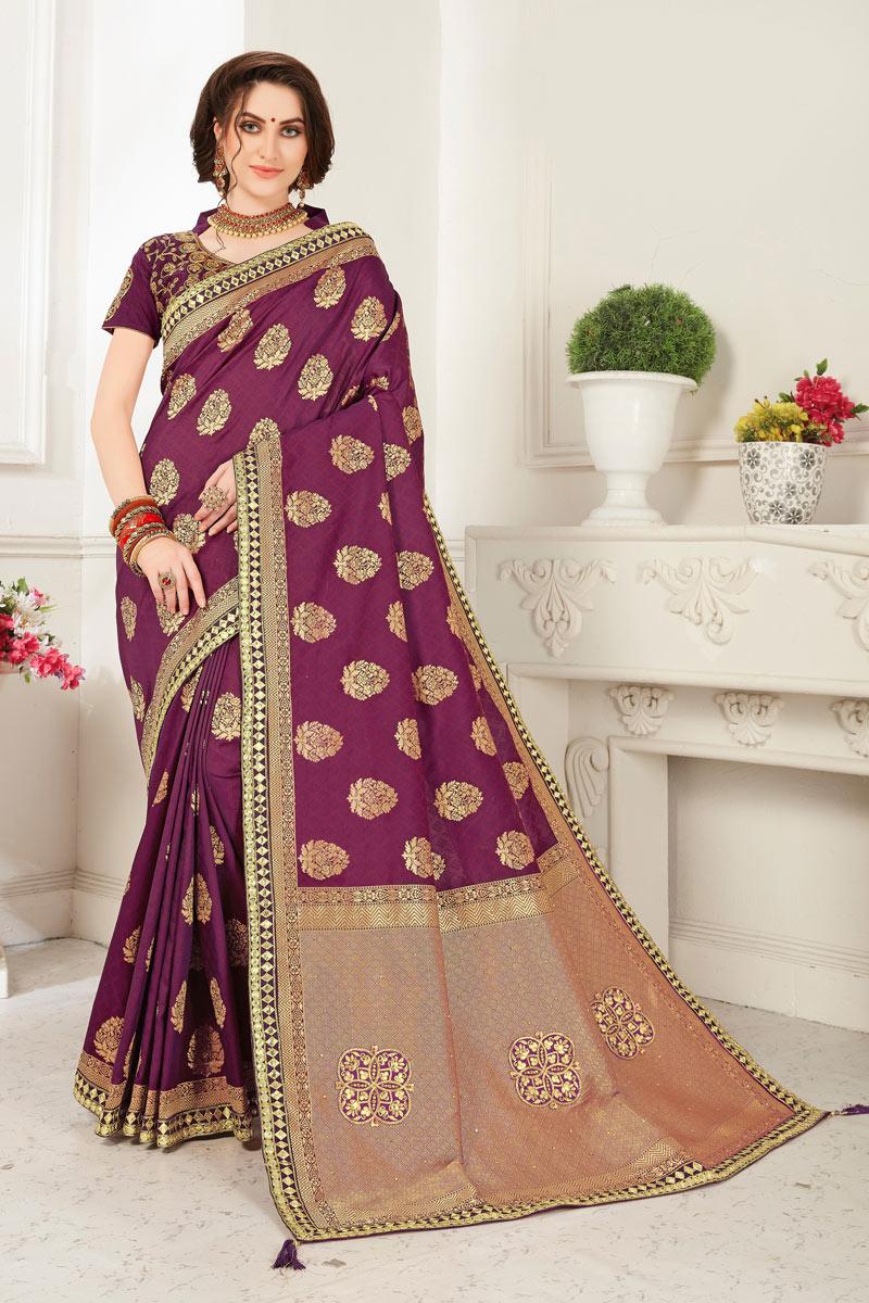 Banarasi Silk Fabric Purple Color Designer Saree With Jacquard Work