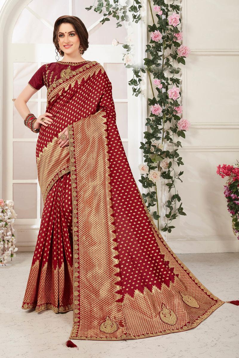 Maroon Color Banarasi Silk Fabric Party Wear Saree With Jacquard Work