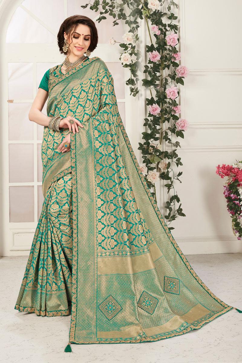 Jacquard Work Banarasi Silk Fabric Teal Color Function Wear Saree