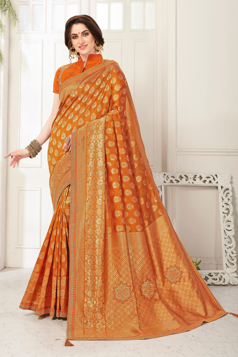 Orange Color Banarasi Silk Fabric Designer Saree With Jacquard Work