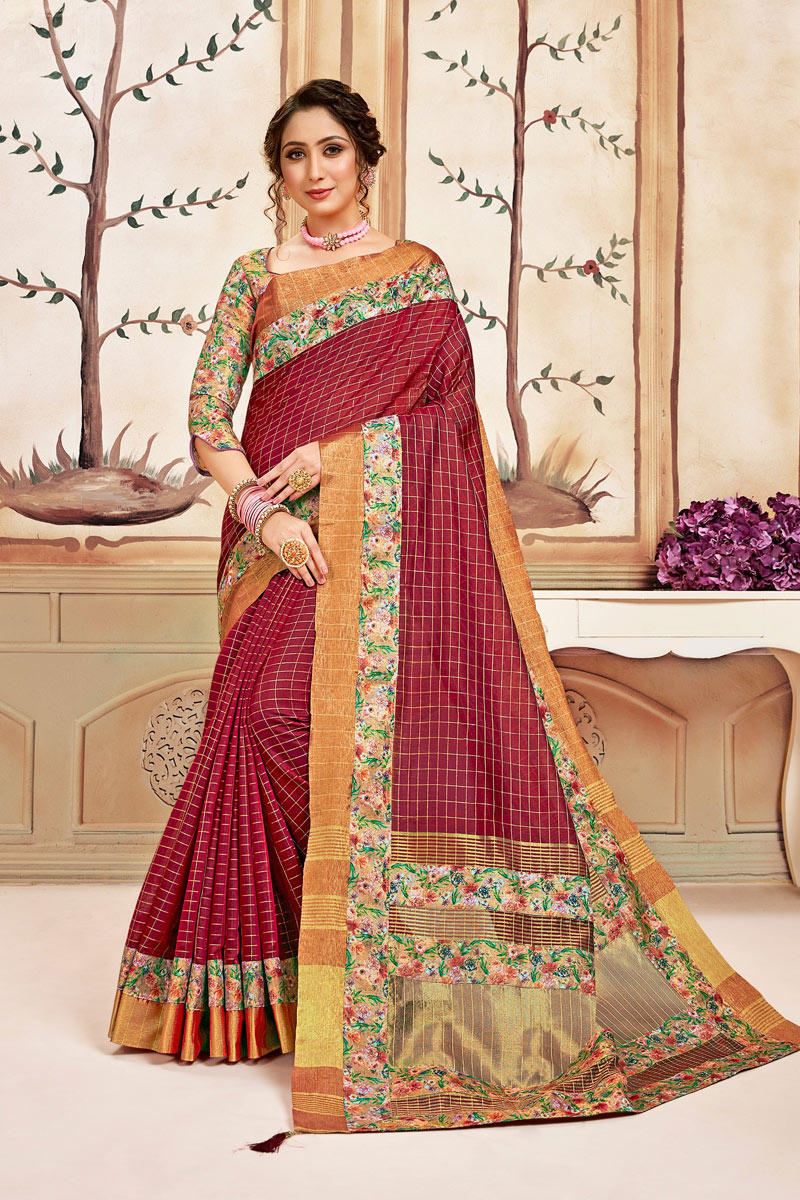 Maroon Color Daily Wear Checks Print Saree In Cotton Fabric