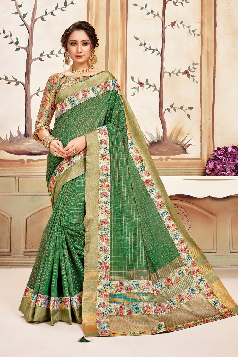 Checks Print Cotton Fabric Green Color Function Wear Saree