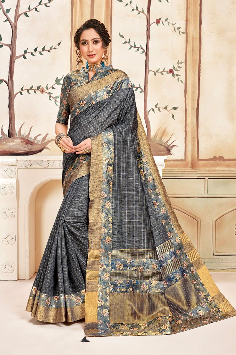 Grey Color Cotton Fabric Checks Print Daily Wear Saree