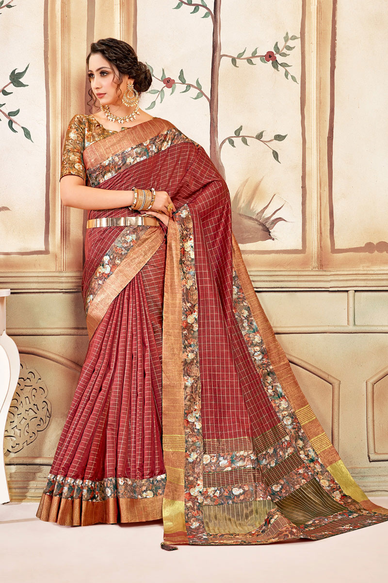 Cotton Fabric Checks Print Designs On Red Color Office Wear Saree