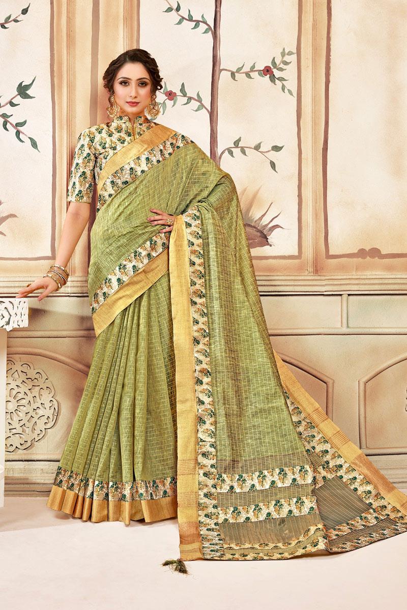 Cotton Fabric Khaki Color Checks Print Designer Saree