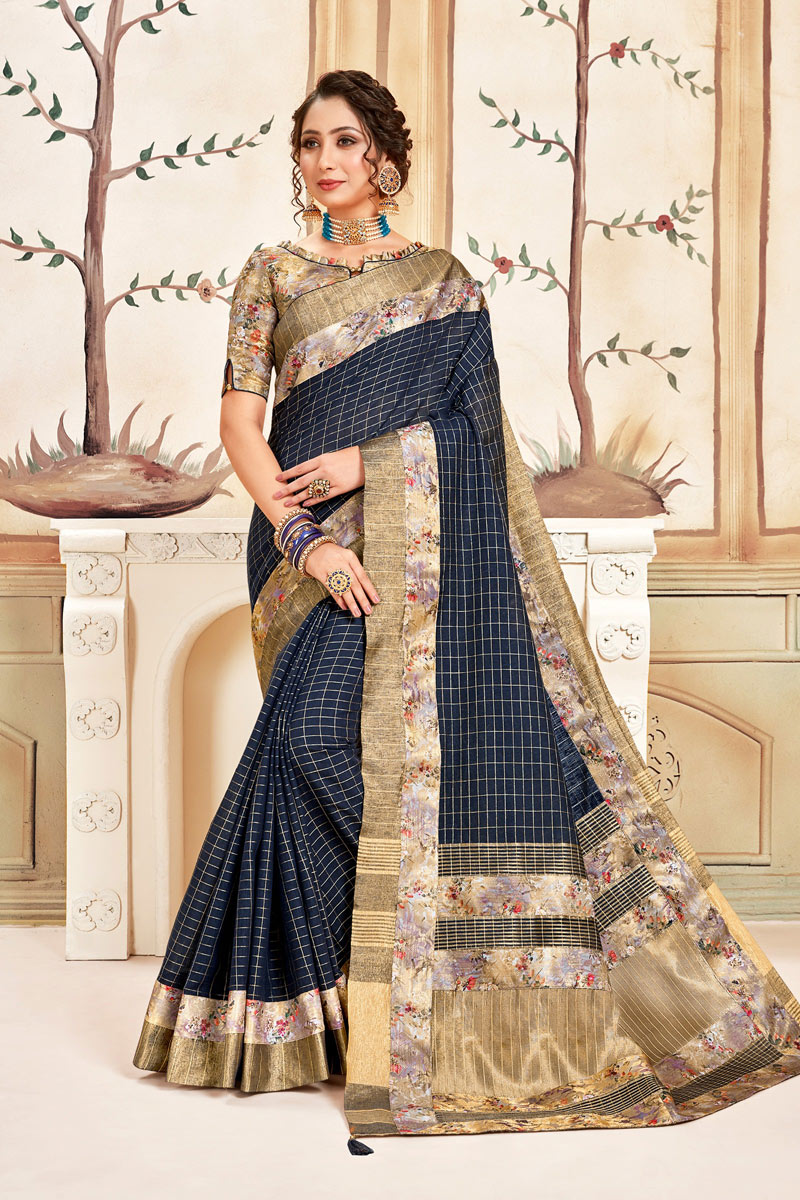 Checks Print Navy Blue Color Cotton Fabric Casual Wear Saree