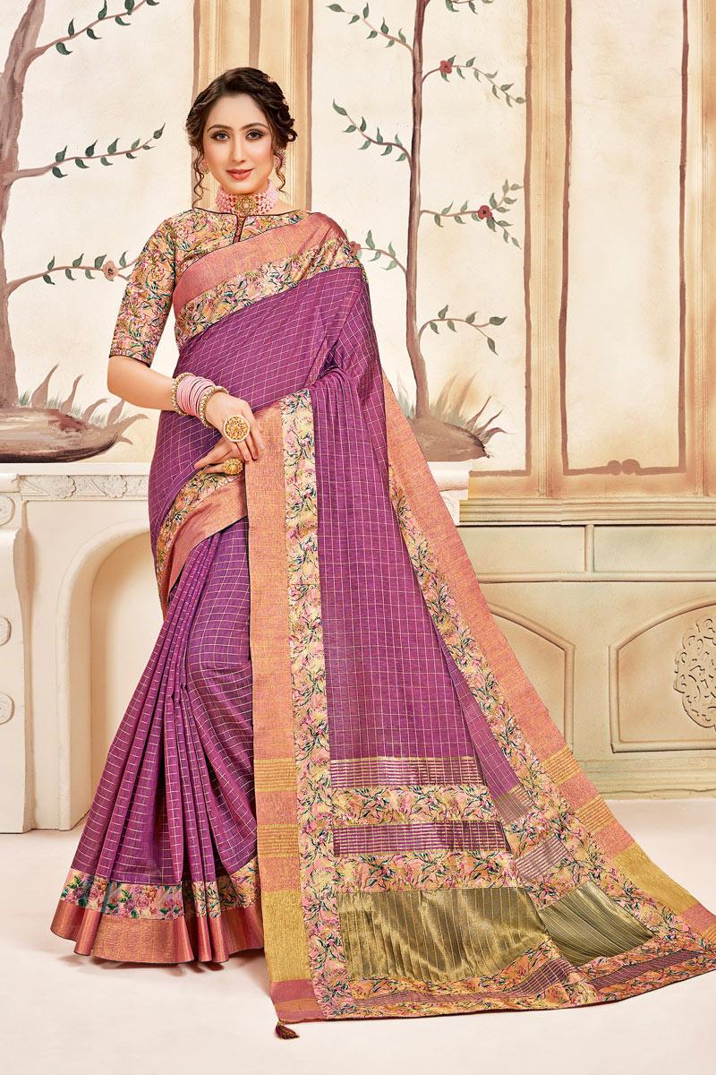 Violet Color Cotton Fabric Function Wear Checks Print Saree