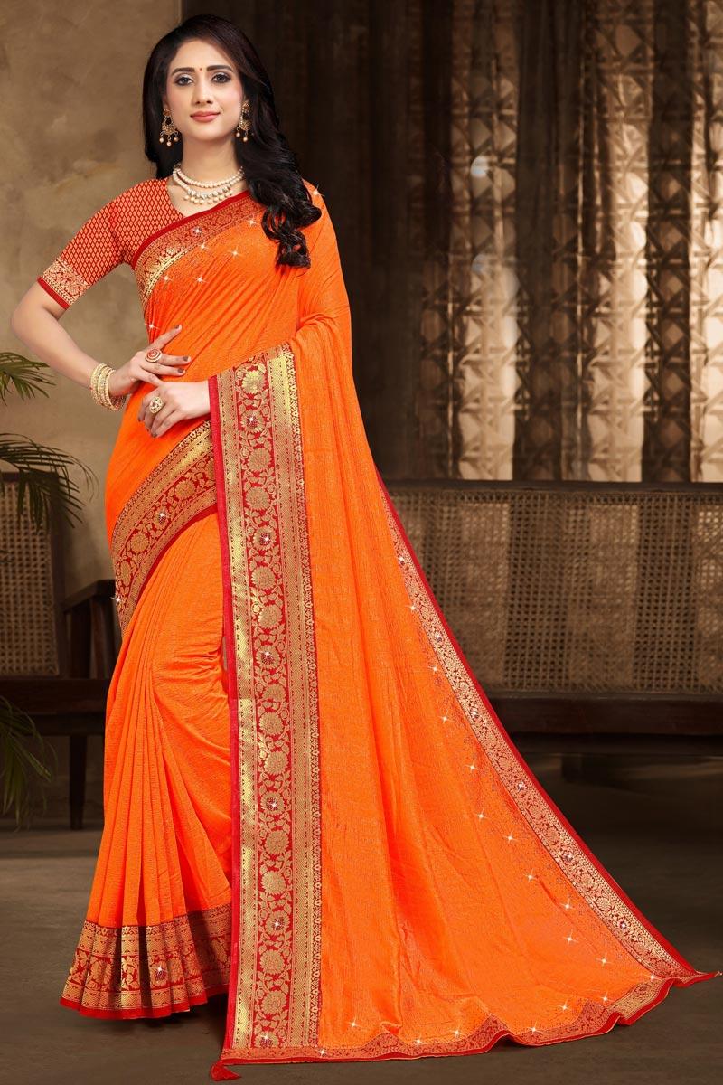 Designer Art Silk Fabric Orange Color Party Wear Lace Work Saree