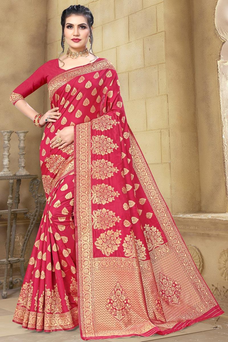 Cotton Silk Fabric Party Wear Rani Color Weaving Work Saree