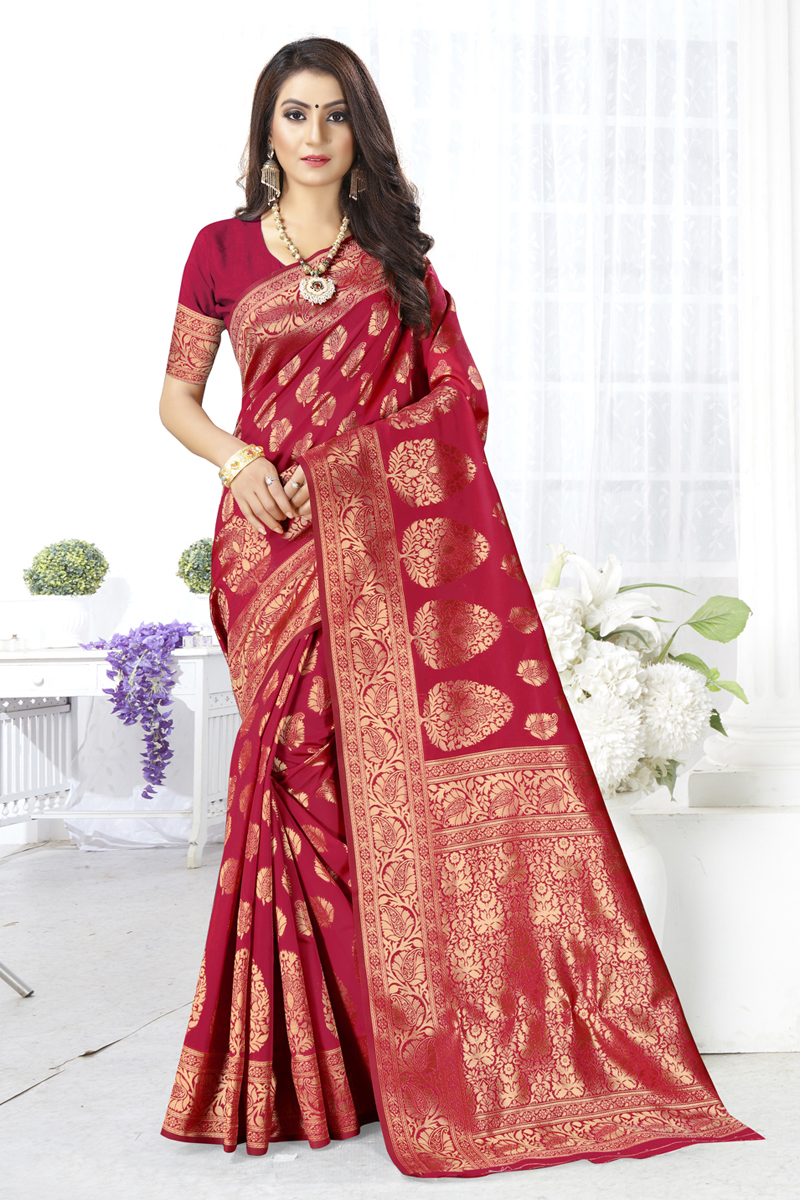 Red Color Art Silk Fabric Function Wear Saree