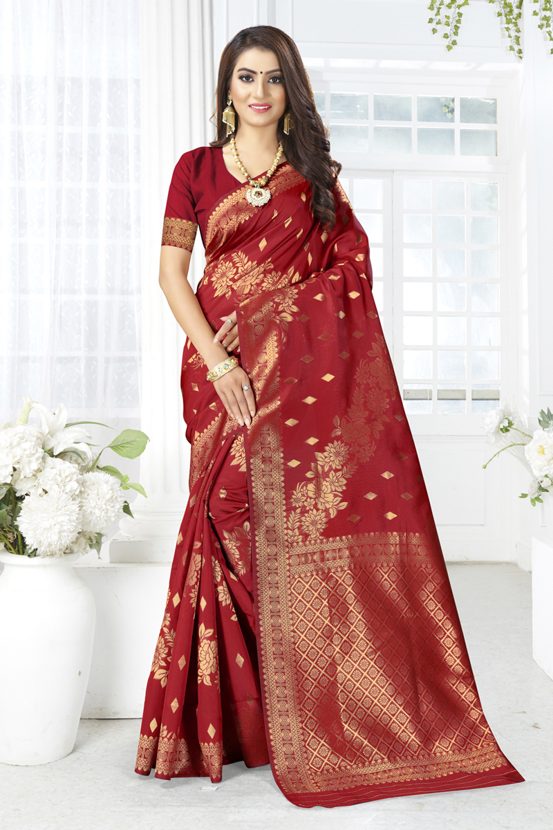 Weaving Work Maroon Color Traditional Saree In Art Silk Fabric