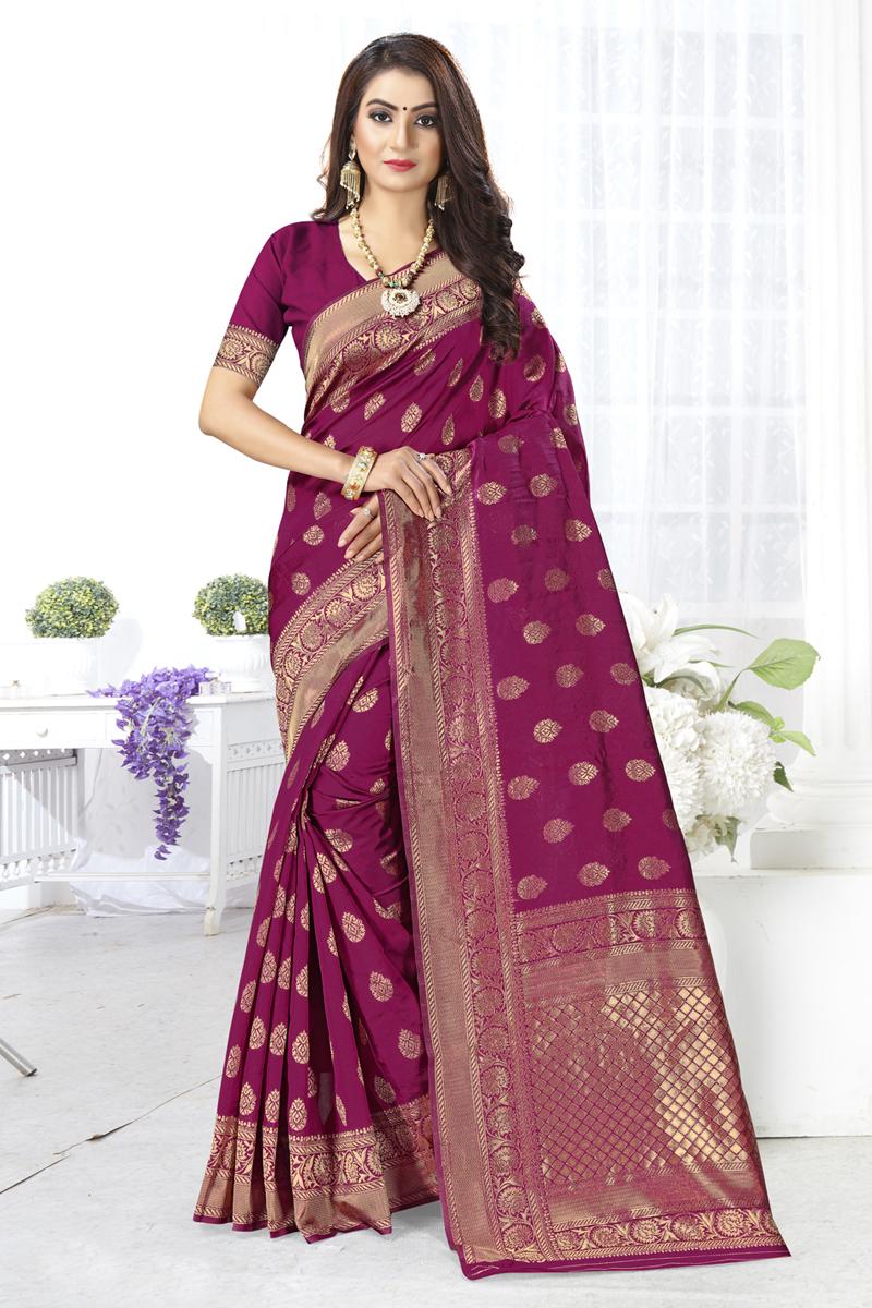 Weaving Work Art Silk Fabric Dark Magenta Color Designer Saree