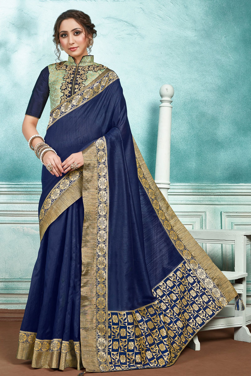 Navy Blue Party Wear Saree In Art Silk With Border Work And Beautiful Blouse