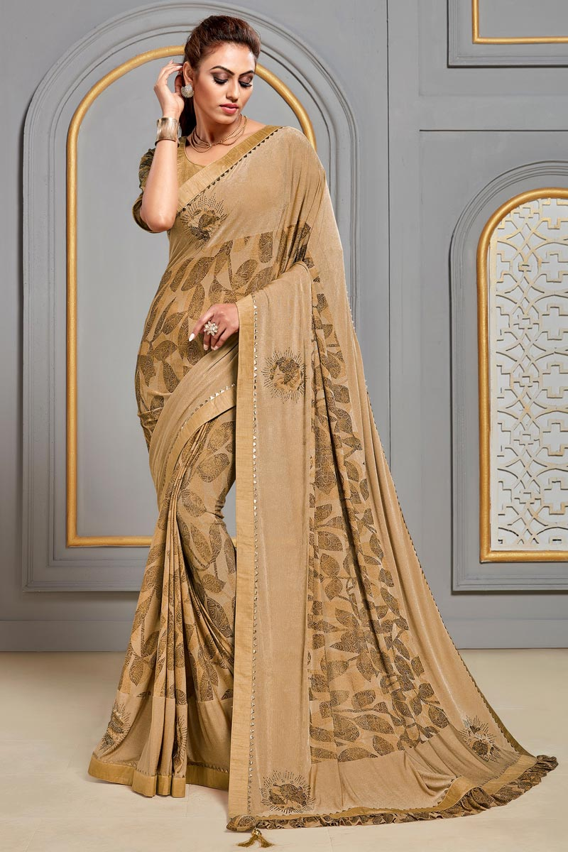 Beige Color Sangeet Wear Fancy Fabric Printed Saree