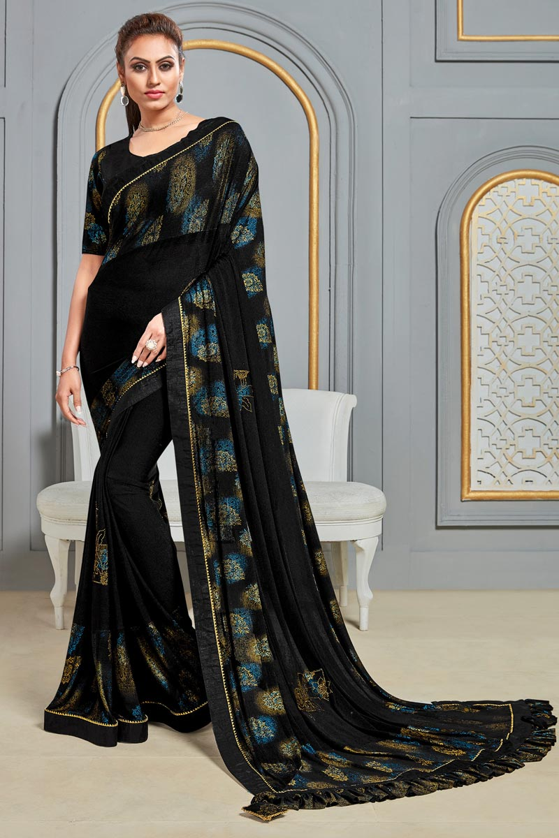 Sangeet Wear Printed Saree In Black Color Fancy Fabric